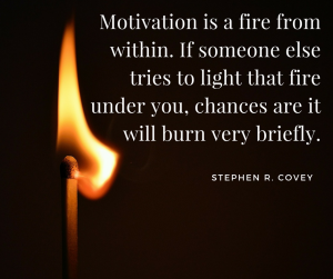 Motivation is a fire from within. If someone else tries to light that fire under you, chances are it will burn very briefly. –Stephen R. Covey