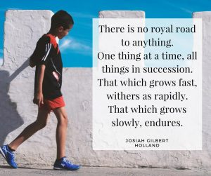 There is no royal road to anything. One thing at a time, all things in succession. That which grows fast, withers as rapidly. That which grows slowly, endures. Josiah Gilbert Holland