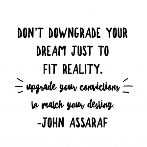 Don't downgrade your dream just to fit reality.  Upgrade your convictions to match your destiny.  John Assaraf