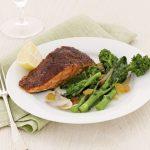 Blackened Salmon with Broccoli Rabe and Raisins