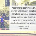 According to recent research, women who regularly complete marathons have less coronary plaque buildup—and therefore a lower risk of stroke or heart attack—than sedentary women. (Medicine & Science in Sports & Exercise)